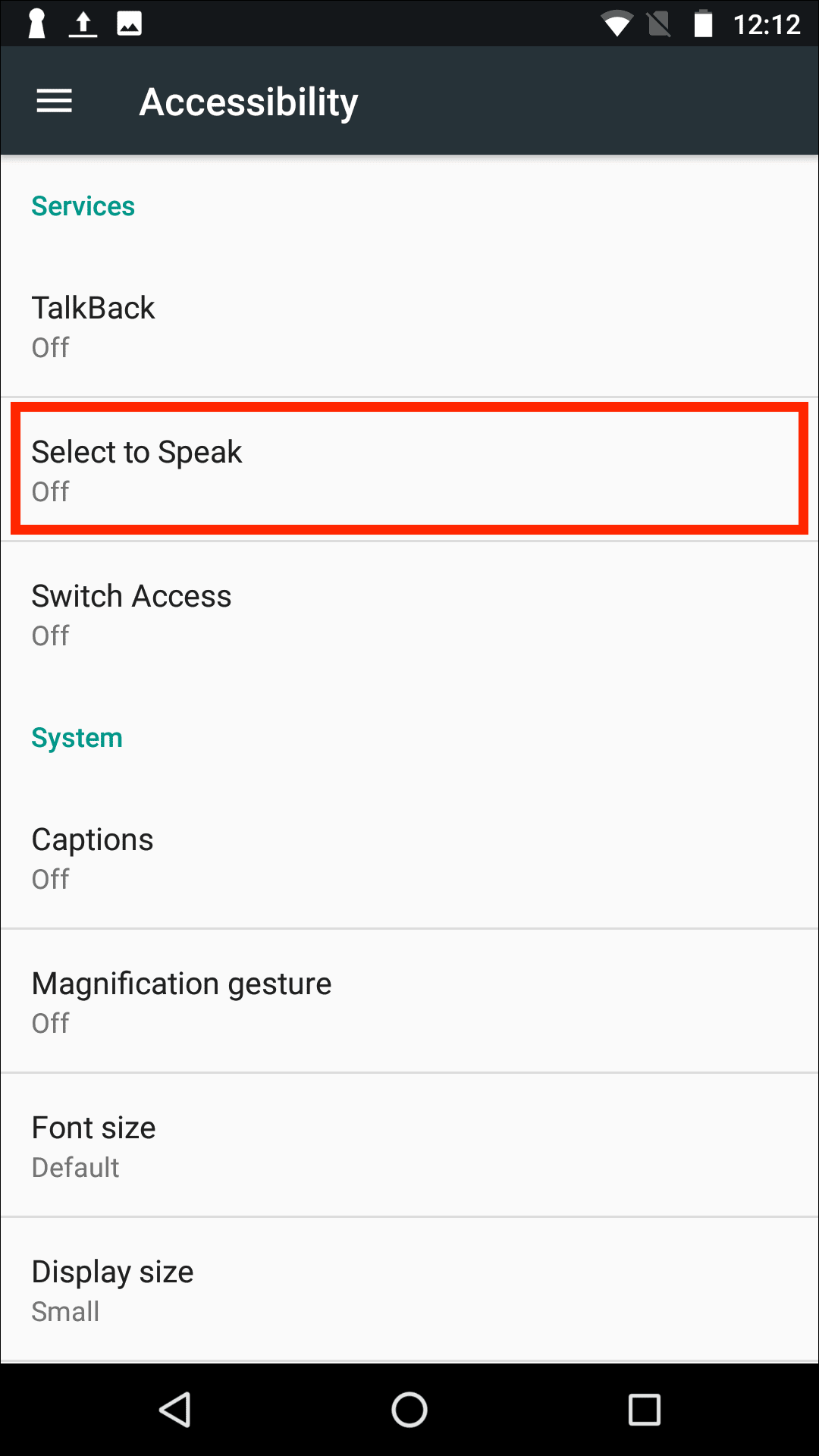select to speak google accessibility android mobile app