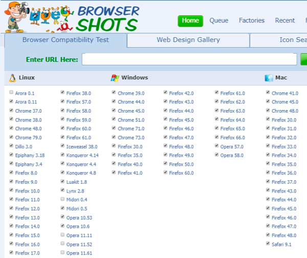 browsershots web app test