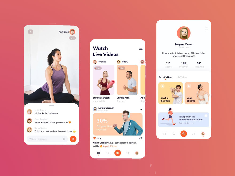 video streaming mobile app fitness gym