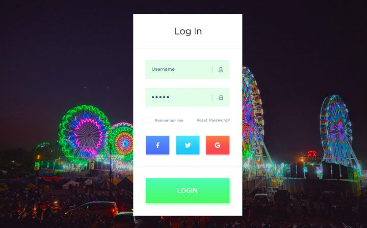 login feature mobile app amusement parks