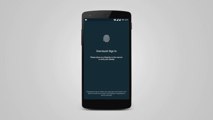 mobile app banking fingerprint access