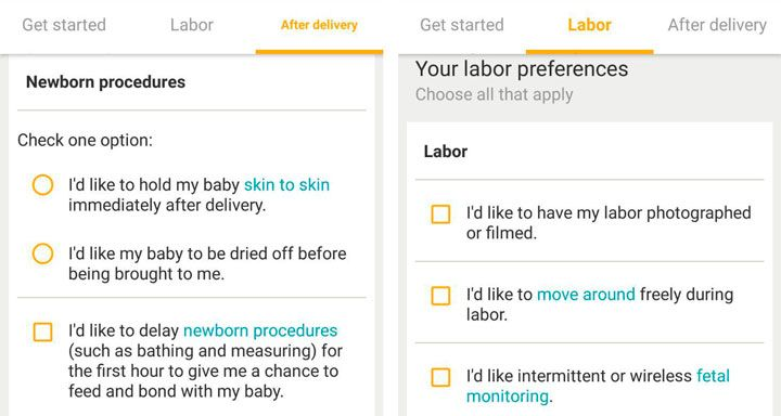 mobile app pregnancy preferences